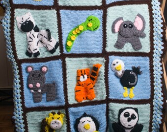 Zoo baby crochet afghan will customize to you color theme.