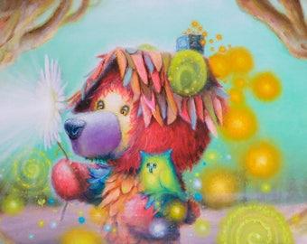 Bear Print -  Oil Painting - Owl - Wilderness -  Red - Turquoise - Aqua -  Trees - Pop surrealism - Glow - Cute