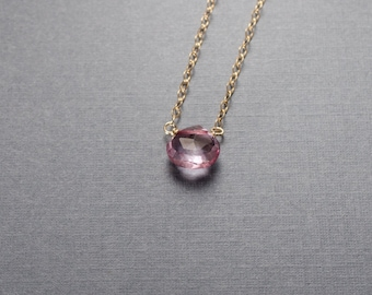 Light Pink Quartz Gold Filled Necklace or choose your semi precious stone