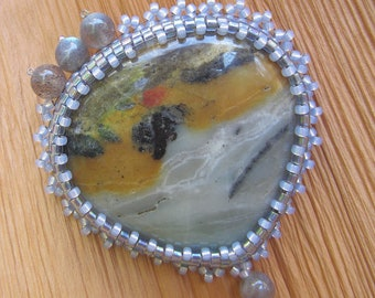 Winters Misty Dawn. Bead embroidered brooch
