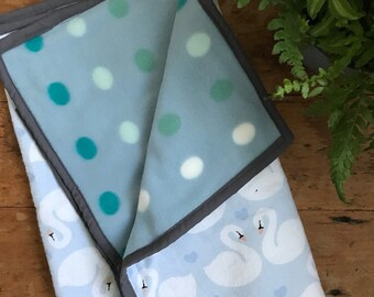 blue swans and polka dots   modern minimalist baby stroller crib quilt   baby play mat