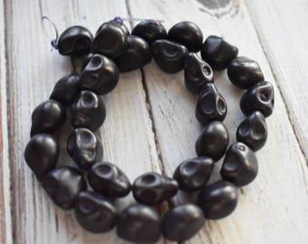 Black Magnestite Skull Beads, Halloween Human Skull Black Bead Strand, Full 16 inch Strand,