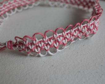 16 inch pink and white hemp necklace