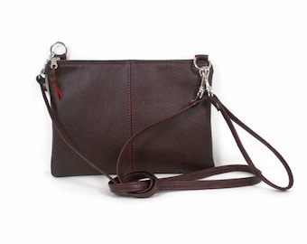 Burgundy Leather Crossbody Bag, Leather Wristlet Purse, Crossbody Clutch Purse, Leather Handbag Made in USA, Gift for Wife