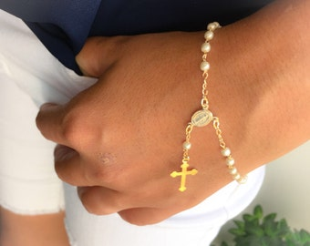 Gold Plated  Rosary Bracelet, Pearl Rosary Bracelet , 18 K Plated rosary bracelet, Gold rosary