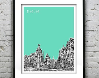 Madrid Spain City Skyline Poster Art Print