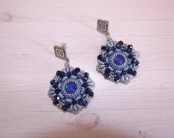 Handmade bead earrings, pendant earrings, blue earrings, elegant earrings, brilliant earrings, handmade earrings