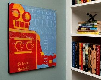 "Boys Room Decor, Robot Art Box, Warmth of Your Metal Heart Sci Fi Art, Retro Robot Art Print Box, 16"" x 20"" Robot Wall Decor"