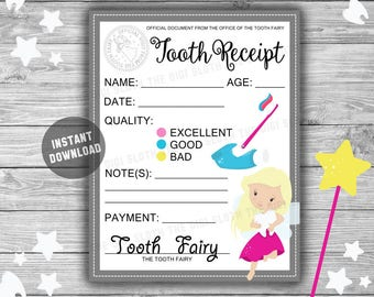 Tooth Fairy Letter - INSTANT DOWNLOAD - Tooth Receipt - Tooth Fairy Certificate - Printable Tooth Fairy - Keepsake - Lost Tooth