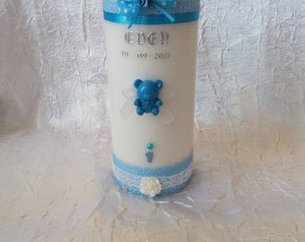 Personalized Teddy bear theme baptism candles