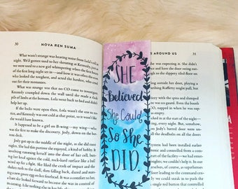 Bookmarks-watercolor-printed on cardstock-She believed she could so she did.
