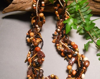 Autumn necklace, Multi strand necklace, statement necklace, wood necklace, Animal print, brown, black, neutral, twisted, freeform: Safari