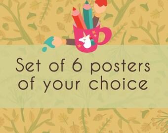Set of 6 posters, bundle set, set of children prints, print for kids room, poster for nursery, nursery wall decor, science poster bundle