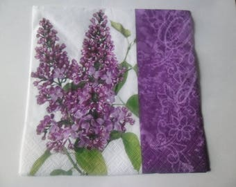 1 napkin a beautiful lilac border stem purple 33 x 33 cm