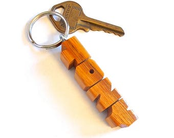 Name Keychain in Canarywood, Custom Carved to Order