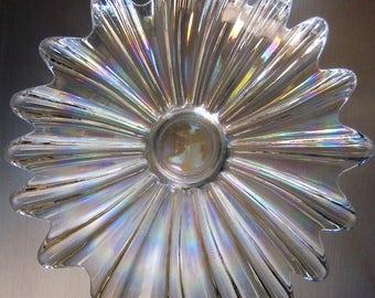 Vintage Sunburst Iridescent Carnival Glass Bowl, Rainbow Dish, Fruit Bowl