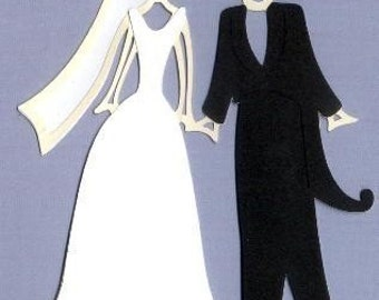 Bride and Groom diecut- 5 1/2 inches tall