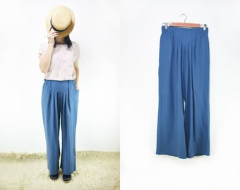 Handmade Palazzo Vintage Cotton-Viscose gabardine, wide leg pant Small , Medium, Large [Jackson Pants/baby blue]