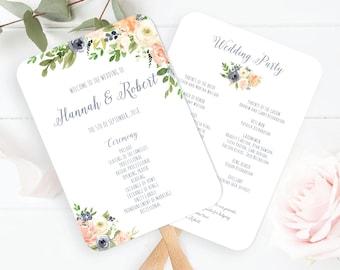 Wedding Program Fan Template, Dusty Blue, Peach, Cream Wedding Program Fan Printable, /Greenery Wedding Program, Succulent Wedding Program