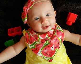 Combo Watermelon Bandana Bib & Bow Headband Set.  Summer, Fruit, Food, Red, Green, Matching Set, Infant, Toddler,Baby, Nursery, Shower Gift,
