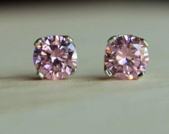 8mm Large Pink Cubic Zirconia Argentium Silver Earrings - 4 Prong - Nickel Free Hypoallergenic Stud Earrings