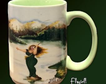 Fly girl! fishing gifts for women, fishing mug, fishing coffee mug, women fishing mug, fishing women, fishing lover mug, fly fishing mug,