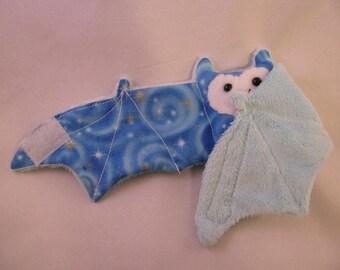 GLOW in THE DARK bat on blue faux fur - Cup Sleeve/Coffee Cozie/