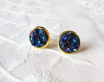 10mm navy and gold druzy stud earrings, small earrings, tiny studs, navy and gold, bridesmaid earrings, gift for her, glitter earrings