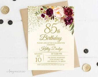 85th birthday invite etsy 85th birthday invitation floral ivory birthday invitation cream burgundy birthday invite personalized filmwisefo Choice Image