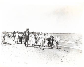 """Vintage Snapshot """"Procession On The Beach"""" Amused Man In Swimsuit Large Group Striding Purposefully Found Vernacular Photo"""