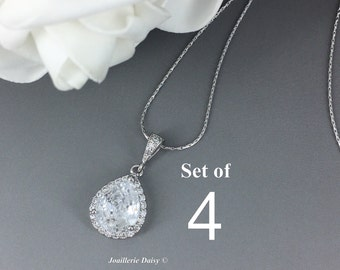 Set of 4 Cubic Zirconia Necklace Bridal Jewelry Bridesmaid Gift Crystal Necklace Bridesmaid Necklace Wedding Jewelry Gift for Her