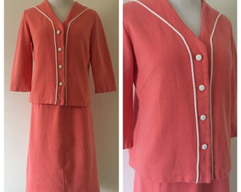 Vintage 1960s Pink and White Two-Piece Skirt Suit