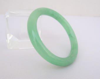 Vintage Translucent Green Jadeite Jade Bangle Bracelet 48MM