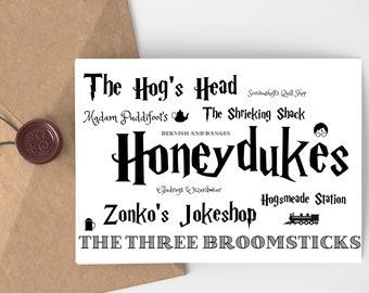 Harry Potter Inspired Printable Card - Hogsmeade Shops Word Cloud