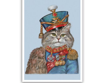 The Cat Hussar - Cat Art Print - Cats in Clothes, Military Cats - Russian Wall Art - Funny Pet Portraits by Maria Pishvanova