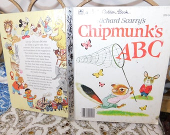 Richard Scarry's Chipmunk's ABC - Little Golden Book (Hardcover) 202-54, Vintage Childs Book, Vintage Book, Golden Book