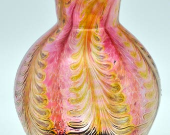 Hand Blown Pulled feather vase.