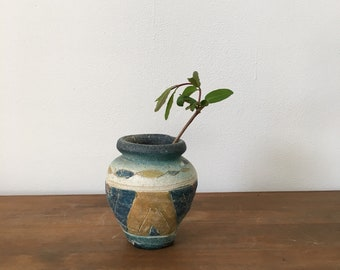 1970s blue and ochre bud vase