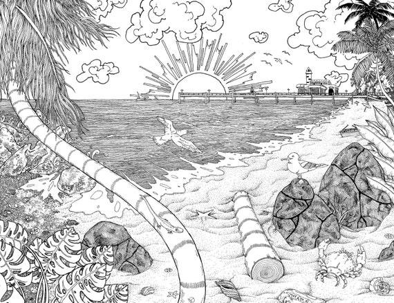 Muelle en la playa en el atardecer pluma y tinta ilustración