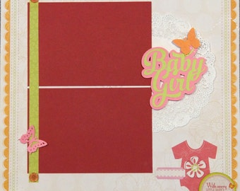 Baby Girl Scrapbook Page, Premade Baby Girl Scrapbook Page, Girl Scrapbook Page Layout, 12 x 12 Album Pages, Premade Album Page