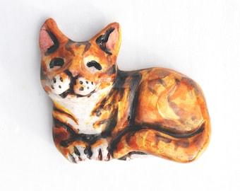 Ceramic Cat Magnet: Ginger Tabby