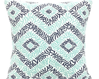 Navy Aqua White Decorative Pillow Covers Throw Cushion Covers Aqua Indigo White Nautical Sea Diamond  Euro Sham Couch Bed Sofa Various Sizes