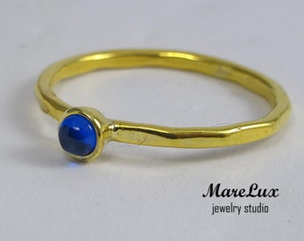 Sapphire Cabochon Ring, Faceted Stackable Blue 3 mm Synthetic Sapphire Gold Ring, 24K Gold Plated Stack Sapphire Engagement Ring with Facets