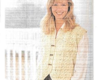 Original Sirdar knitting pattern for a ladies waistcoat to fit sizes 30-44 ins / 76 - 112 cms double knit wool