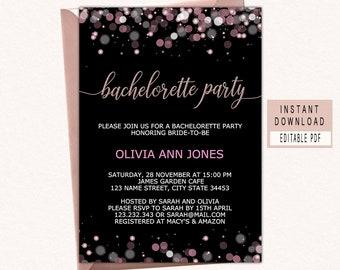 Bachelorette party invitations instant download, bachelorette invitations printable, bachelorette invite template, editable, unique, elegant