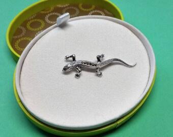 Old brooch silver 835 lizard salamander SB155