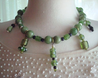 Irish Spring. This is a fun one of a kind, green glass bead necklace.