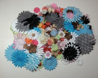 Destash lot of silk and paper flowers for cards scrapbooks embellishing anything 4.5in. to 1in. sizes