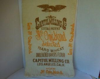 Vintage Flour Sack Capitol Milling/Bemis Cat Mark on Sack/Unbleached Bakers Flour