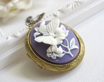 Large 3D Butterfly Cameo Locket. Spring Summer Butterfly and Flower Brass locket Antiqued Chain Long Necklace. Graduation Gift. Wedding Gift